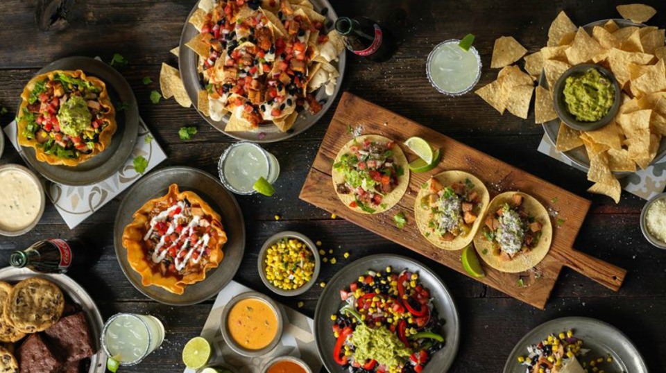Nachos, taco salads, tacos, chips, and dips.